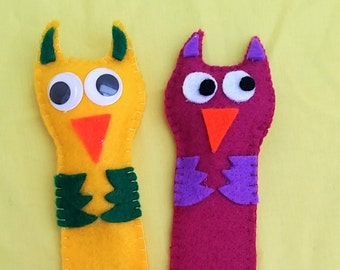 Unusual Felt Owl Bookmark, lovely little gift for an Owl or Book lover - available in any colour!