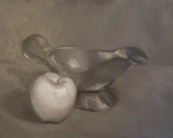Small Tone Oil Painting Gravy Boat and Apple Oil Painting Metallic Oil Painting Monochromatic Painting