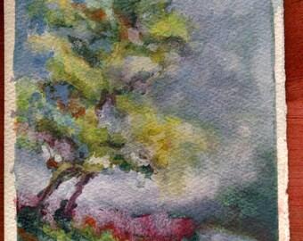 Original Watercolor Gouache Painting Landscape