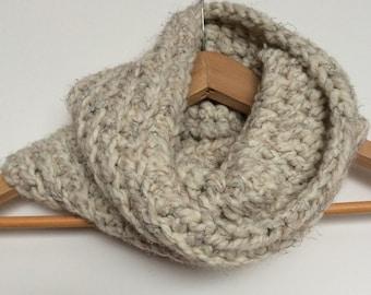 Cream Crocheted Chunky Infinity Cowl Scarf