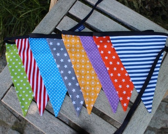 Colorful Bunting with Dark Blue Ribbon