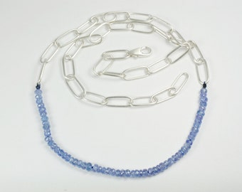 Faceted Tanzanite Beads with Handmade Argentium Silver Link Chain Necklace
