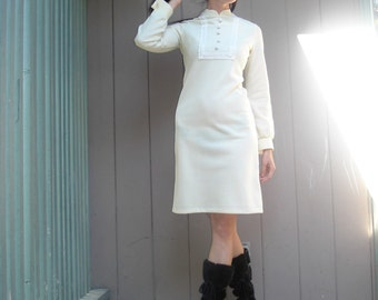 Retro 1960s Style Dress/Boho Chic/Hippie/Cream Colored/Mod/Vintage/Long Sleeved