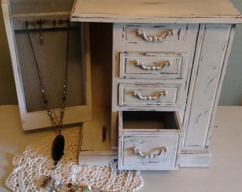 Shabby Chic Distressed  Ivory Jewelry Box