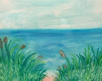 Watercolor Ocean Scene