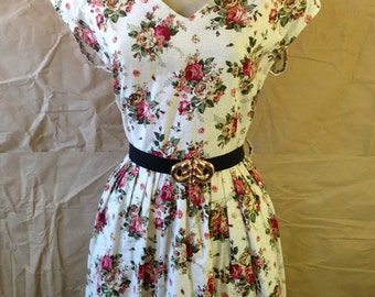 Brand New Cream Floral Print Dress with belt