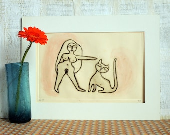 Original Fine Art Print, Drypoint Print, Etching of a naked woman and a Cat, Sepia and Red, Wall Art, Hand Pulled in Limited Edition