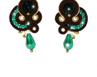 Soutache green and gold earrings