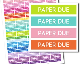 Paper due stickers, Paper due planner stickers, Paper due printable stickers, School stickers, Student sticker, Study stickers, STI-236