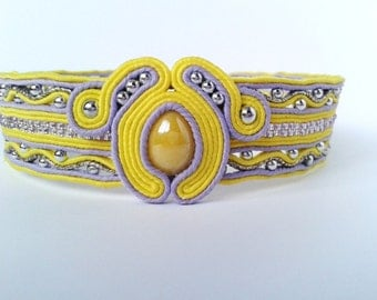Soutache choker light yellow (lemon), lilac,silver colors.