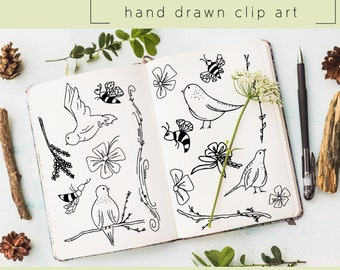 Hand Drawn Clip Art / PNG files / Photoshop brushes / Digital Download / Birds / Bees / Flowers / Nature / Doodle / Branch / Vine / Animal