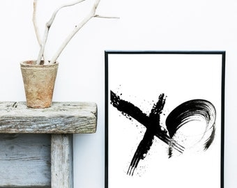 XO print, Minimalist Poster, Scandinavian Print, Abstract Art Print,  Giclee print, Modern Wall Art, Black and White Art