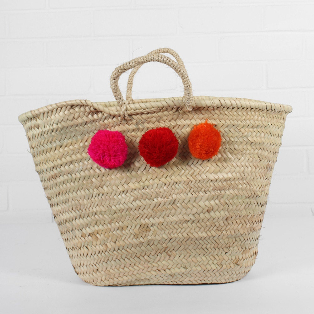 Wicker Basket With Pom Poms : Multi colour pom basket fuchsia red orange