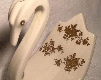 Vintage Mid Century Swan Cream and Gold Towel Holder Bathroom Accessory