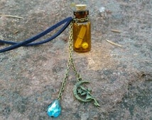 Brown Glass Wish Bottle w/ Fairy Charm Necklace/rear view mirror charm.
