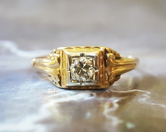 Art Deco Engagement Ring | Vintage Engagement Ring | Antique Engagement Ring | Diamond Engagement Ring | 1940s Engagement Ring Gold 6 3/4 |