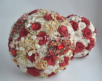 Bridal Bouquet, Brooch Bouquet, Red and Gold Wedding Bouquet, Beige Bouquet, Jeweled Bouquet, Broach Bouquet, wedding decor, Red Bouquet