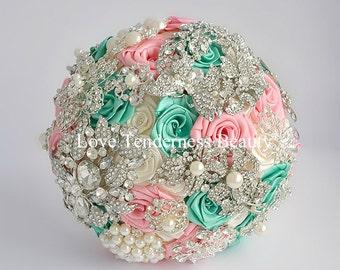 Brooch Bouquet Pink Mint Wedding Bouquet Bridal Bouquet Jewelry Bouquet Broach Bouquet Crystal Bouquet Pearl Bouquet Alternative Bouquet
