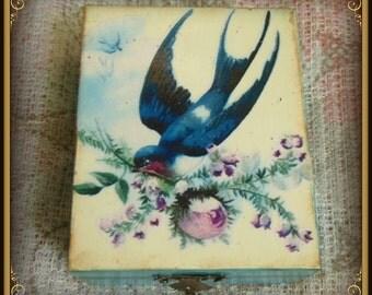 Vintage decoupage jewelry box, decoupage box, sparrow box, jewelry box, unique gift, aniversation gift, wooden box, memory box