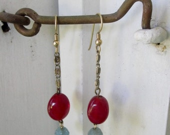 Vintage Carnelian and Blue Pressed Glass Earrings
