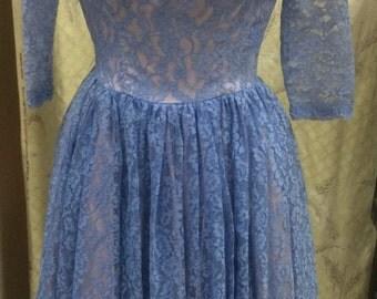 Vintage 1950's Blue Lace Party Dress