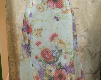 1960's Floral Print Chiffon Dress