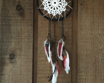 Crochet, Freathers and Suede Handmade Dreamcatcher
