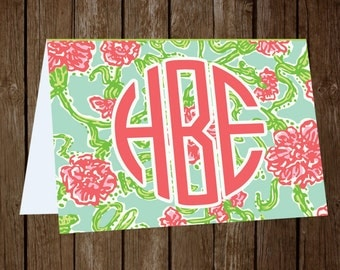 Lilly Pulitzer Inspired Monogrammed Stationary (More Options Available)