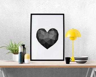 Love Print, Triangles, Geometric Prints, Minimalist Abstract Art, Geometric Print, Romantic Print, Valentine's Art, Heart Print