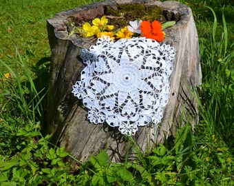 Crochet doily / lace / white (color Nr.1) / 10 inches  (26 cm), D-8
