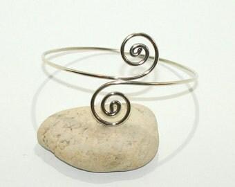 Silver Upper Arm Cuff - Arm Band Handmade Spiral - Swirl Sterling Silver 925 Armlet