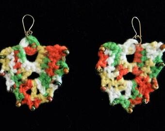 White and orange crochet chandelier earrings – statement earrings – crochet beaded earrings – crochet jewelry – handmade boho earrings