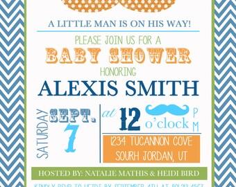 Little Man Shower Invite - Baby Boy Shower - Mustache Shower - Custom Digital Download