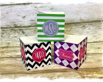Personalized Sticky Note Cube - Choice of Pattern, Color, Frame, Monogram - Teacher Gift, Office, School Post-it Notes