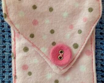 Pink coin pocket, pink polka dots coin pocket, little girl's coin pocket, little girl's stocking stuffer, stocking stuffer, her coin pocket