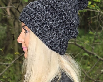 Slouchy Hat, Women's Hat, Grey Winter Hat, Slouchy Beanie, Chunky Crochet Hat, Crochet Beanie, Grey Crochet Hat, Grey Knit Hat, THE HUDSON