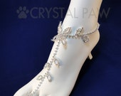 Crystal foot Jewelry. Beach Wedding Accessory. Barefoot Sandals. Anklets. Pair. Set of 2 pcs.