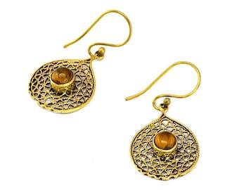 Indian Hoop Earrings, Brass Hoop Earrings, Tribal Earrings, Gypsy Earrings, Ethnic Earrings, Filigree Earrings, Indian Earrings, Brass Hoops