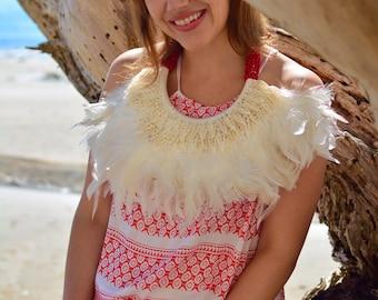 Red print beach maxi dress with drawstring at hip/waist