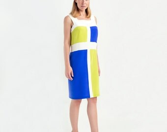 Color Block Silk Sheath Dress // Sleeveless Dress // Knee Length Dresses