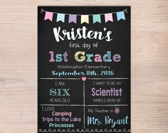 First day of School Sign, First Day of 1st Grade Sign, 2nd 3rd 4th 5th, Girl Chalkboard Poster, 1st Day Back to School, Printable, ANY GRADE