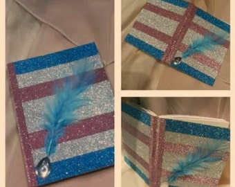 Pink,Blue and Silver Shimmer Notebook