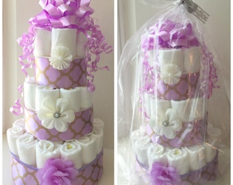 Headband Purple Diaper Cake