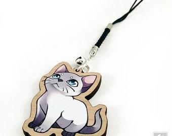 "Cute Chibi Kitten - 2"" cherry wooden charm - Cat Illustration charm keychain"