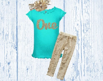 Girl's Birthday Outfit - Mint and Gold Birthday Outfit - Glitter Gold Birthday Shirt