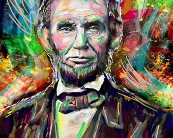 Abraham Lincoln Art Print, Abe Lincoln Art, President painting