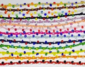 Beaded braided coloured beads surfer friendship bracelets/anklets