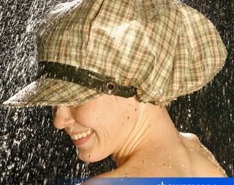 Shower Cap - Newsboy Plaid - Shower Hat for MEN & WOMEN