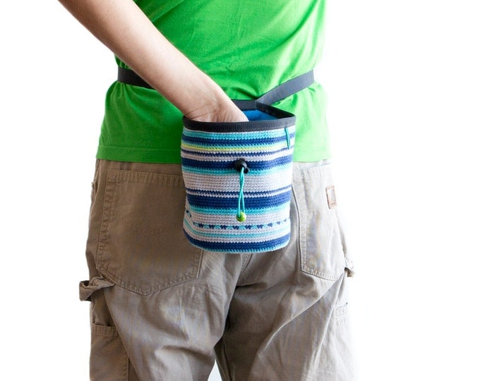 Chalk Bag for Rock Climbing. Bouldering Chalk Bag. Climbing Chalk Bag - Crochet, XL Size