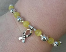 Yellow Cat's Eye Awareness Bracelet & Hope Ribbon Support our Troops POW/MIA Suicide Prevention Adoptive Parents Spina Biffida Liver Cancer